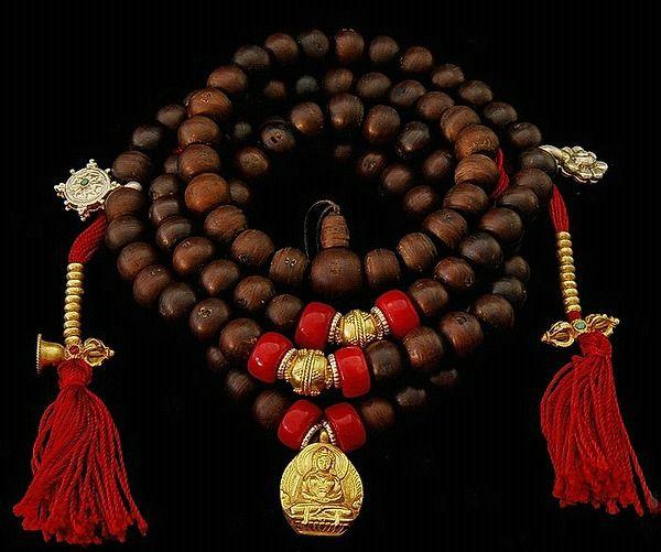 Coral Amp Gold Mala Tibetan Mala Coral And Gold Mala Beads