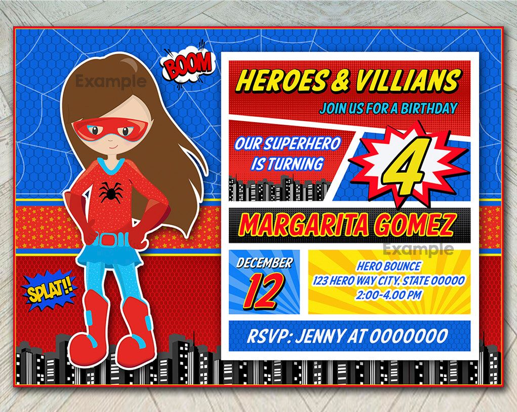 Colorful Superhero Party Invitation Model - Invitations and ...