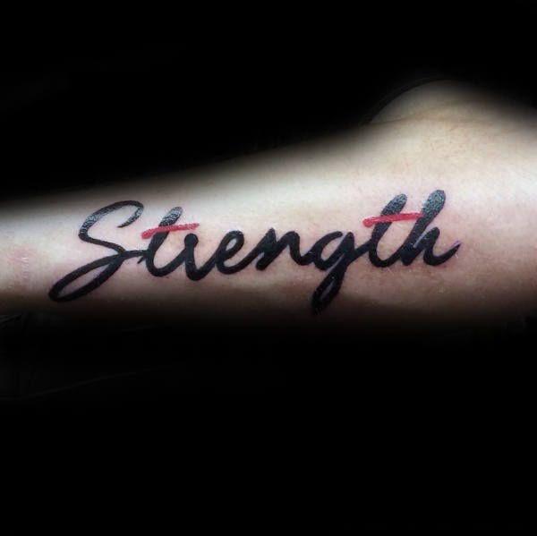 60 Strength Tattoos For Men Masculine Word Design Ideas Tattoos