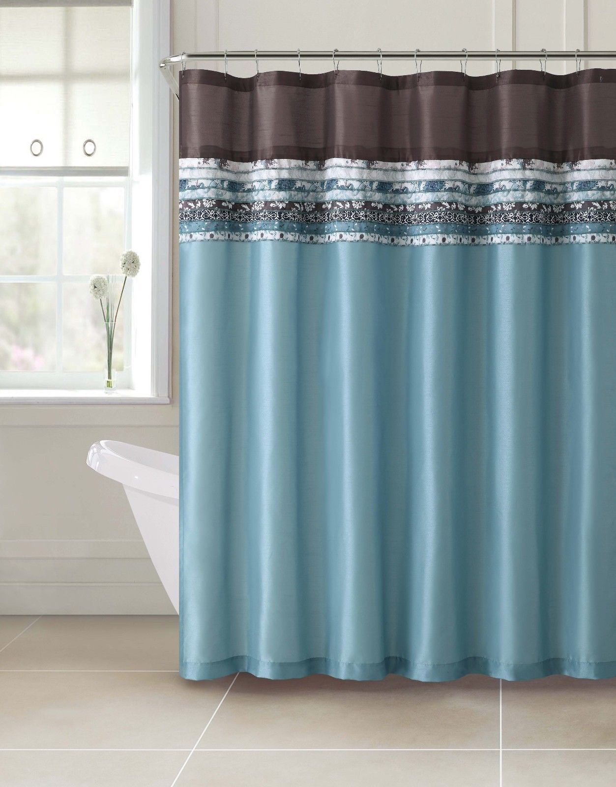 Poetica Faux Silk Aqua Blue Teal Brown Turquoise Fabric Bathroom Shower Curtain