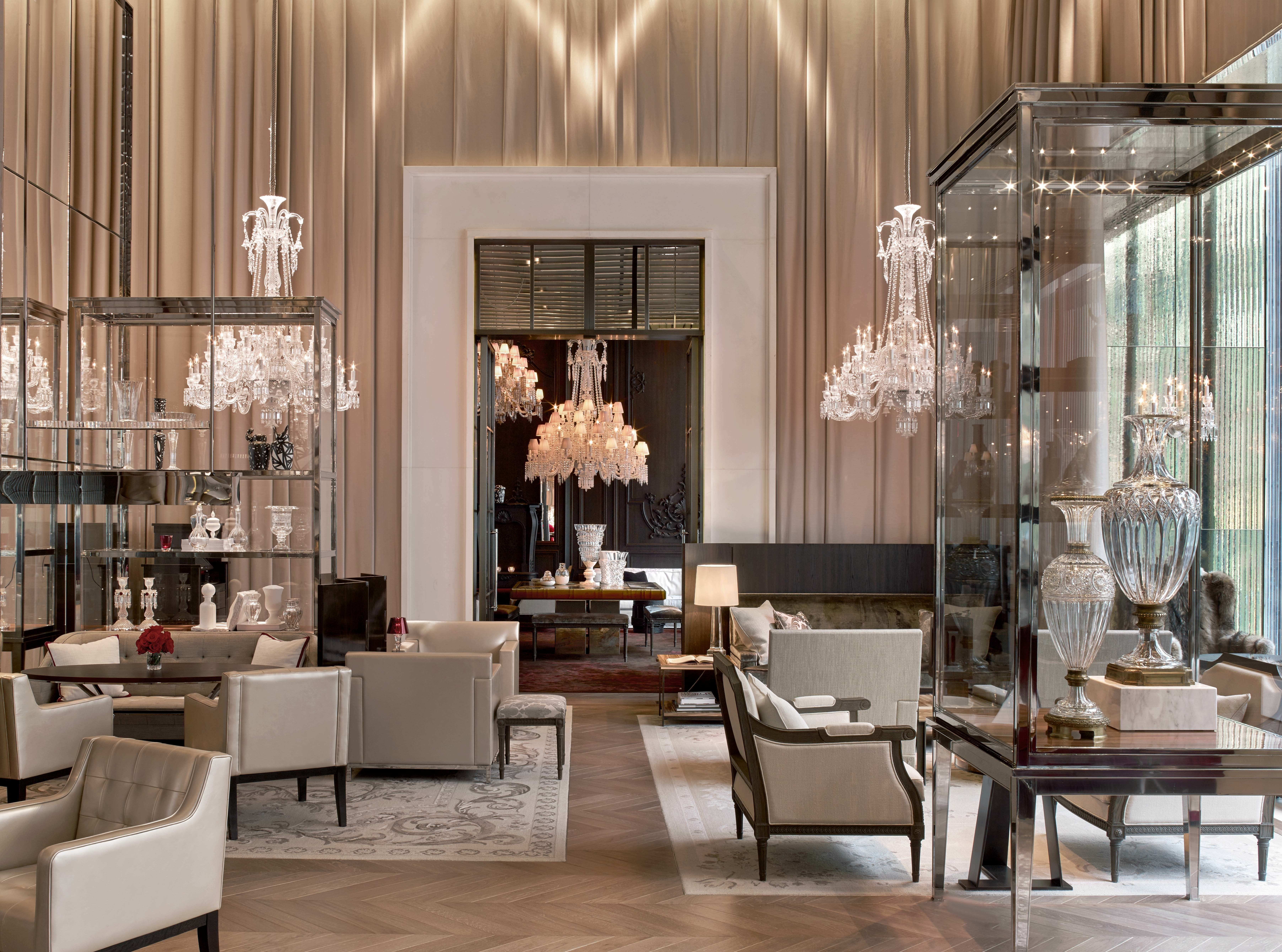 Distinct Chandeliers Highlight This Hotel Lobby