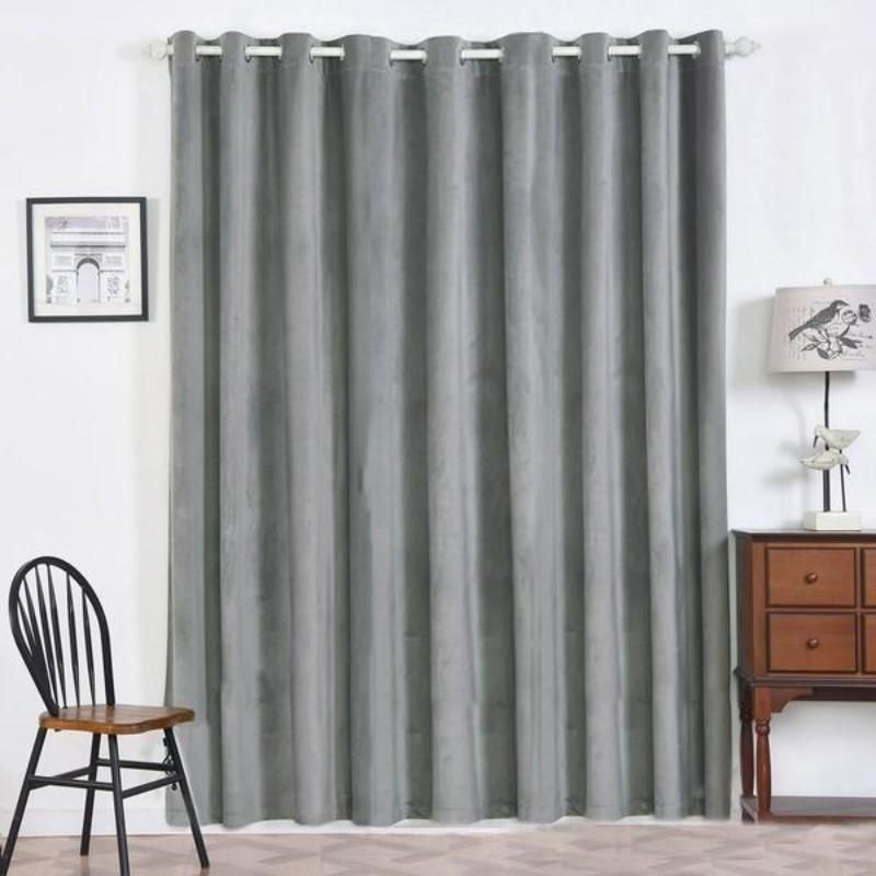 2 Pack 52 X96 Charcoal Grey Premium Velvet Thermal Blackout Curtains With Chrome Grommet Window Treatment Grey Blackout Curtains Curtains Blackout Curtains