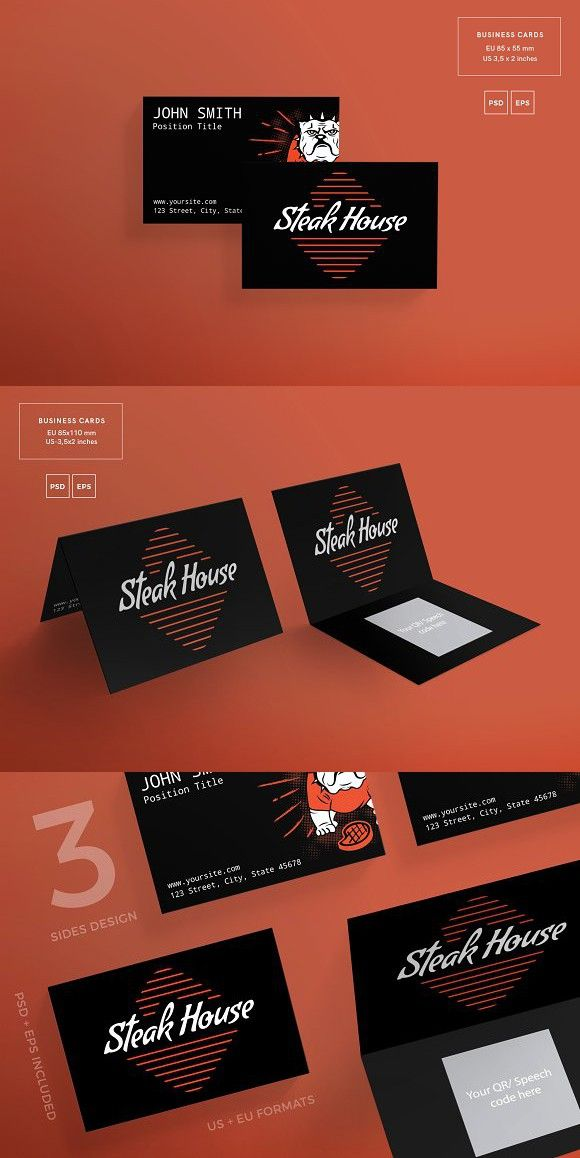 Business Cards   Steak House   Business cards, Card templates and ...
