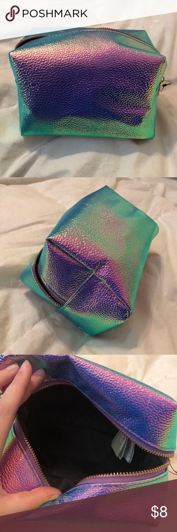 Large Multicolor Shiny Holographic Makeup Bag 💄