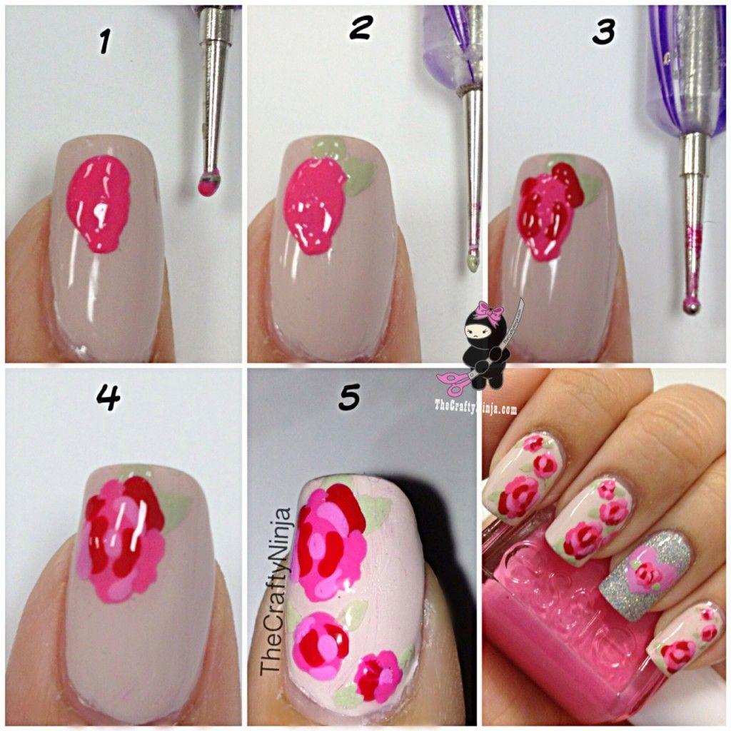 Dotting Tool Nail Designs Diy Nails Fancy Diy Red Pink Flower Motif ...