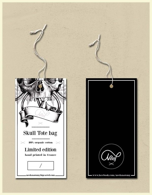 Skull tote bag swing tag / repinned on toby designs