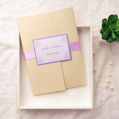 Light Purple Flower Gold Pocket Wedding Invitation Kits Ewpi135