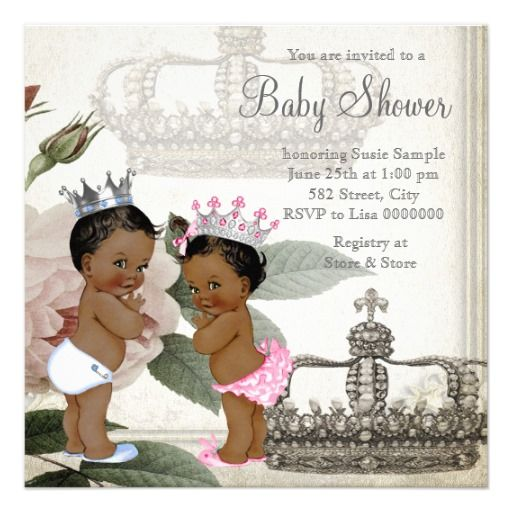 Ethnic Prince And Princess Twin Baby Shower Invitation