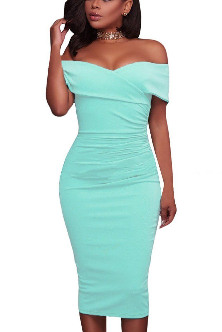Cyan Ruched Off Shoulder Bodycon Formal Midi Dress | Midi dresses ...