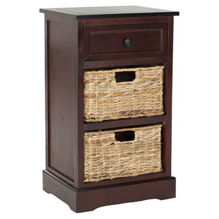Pine end table in dark cherry with two wicker baskets Product End