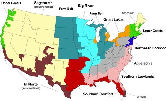 The Regions Of American Politics - Regions of the us map