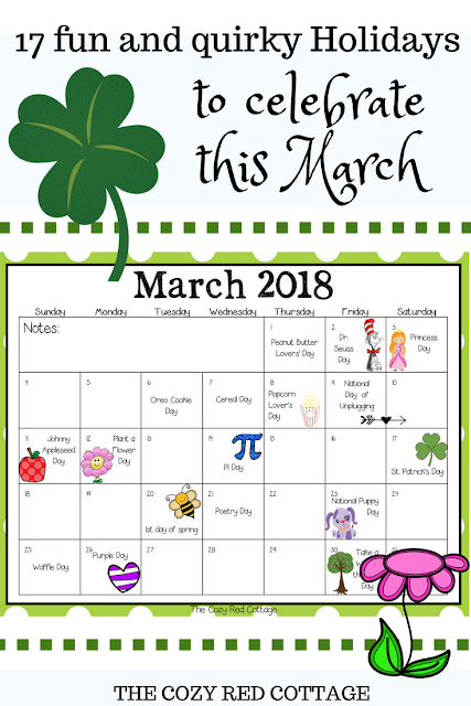 17 Fun Holidays to Celebrate with your Kids in March is part of Fun Holidays To Celebrate With Your Kids In March - We had so much fun with our monthly calendars and hope you have too  This month I found 17 fun holidays to include on our calendar (most I didn't know existed)  Pick a few or all and have fun ) Download a copy of the calendar, print, and display  After that have fun creating some special memories with your little ones  Download your copy here Unplug day is the 9th and 10th  I'll be posting ideas as I finalize my plans and also as we celebrate some of these holidays  My hope is that this will be something fun for your family and a way to create some special memories  I'd love to hear your ideas and see pictures of your celebrations! Here are a few fun ideas we've done in the past that would work with some of these holidays  Johnny Appleseed Dayyou can find some fun apple themed crafts, recipes, and learning activities in this post  Plant a Flower dayIf its too cold to plant here are some cute flower activities  Dr  Seuss DayOur favorite activity is to have a readathon  Pick a book, find a comfy spot, grab some yummy treats and Read! Find some other fun ideas here  St  Patrick's Day Crafts found here  Princess Day ideas found here Holiday's came from here and here  Amazing graphics from Amazing Classroom, Glitter meets Glue Designs, Dorky Doodles, Jen Hart Design, TaDoodles Illustrations, My Cute Graphics, Studio Devanna, Creative Clips, Prettygrafik, Z is for Zebra, Workaholic NBCT, and fonts from Hello Literacy