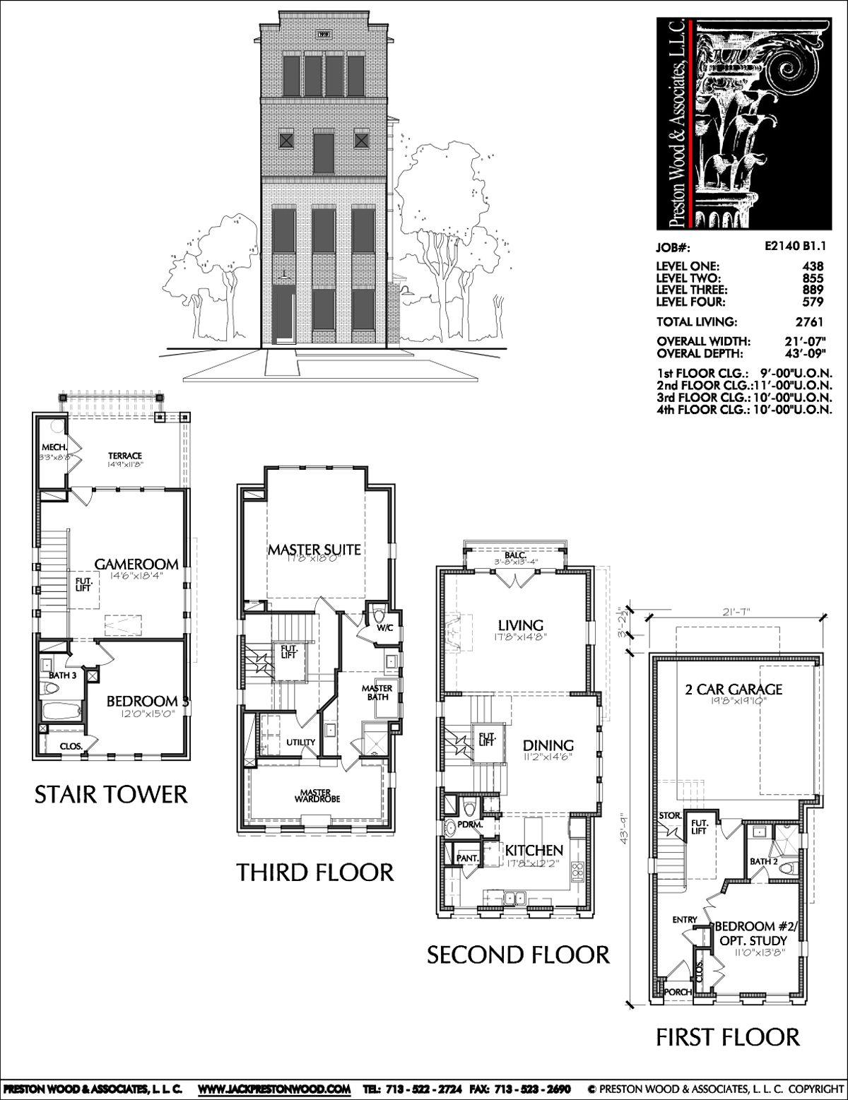 Four Story Townhouse Plan E2140 B1 1 Floor Plans House Floor Plans House Plans