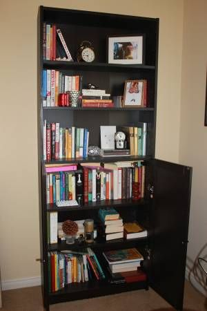 Billy Bookcase W Doors On Bottom Half Black Brown Color