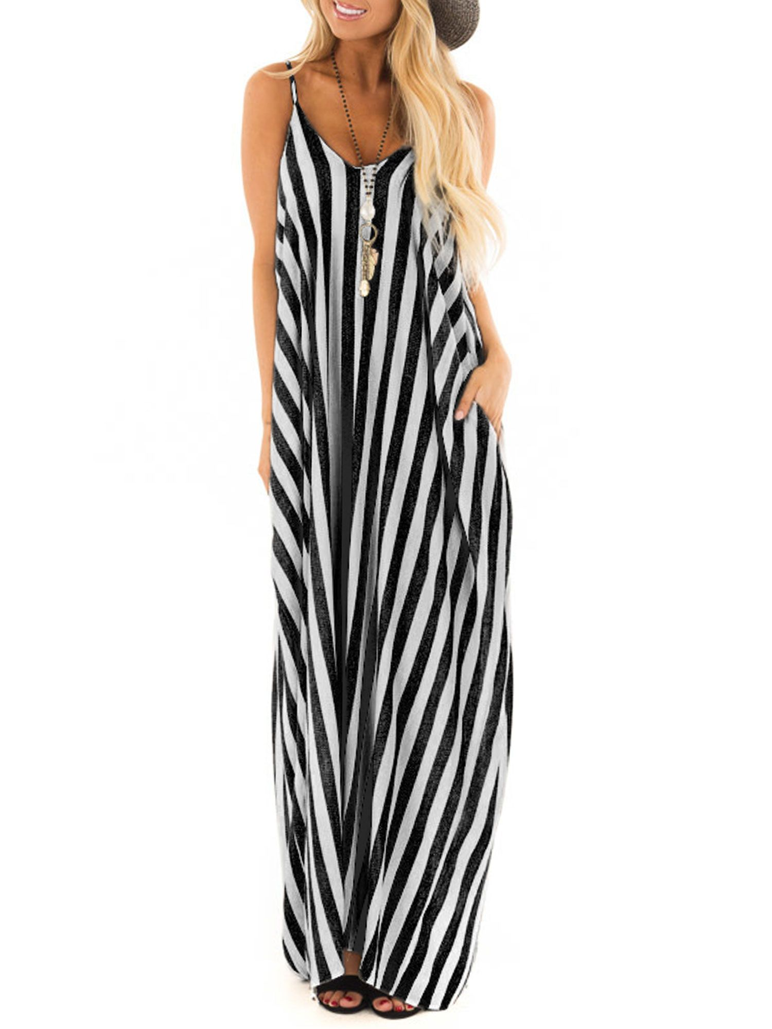 Picked Up From Walmart Free 2 Day Shipping Buy Summer Holiday Women Strappy Cami Striped Lo In 2020 Maxi Dresses Casual Boho Dresses Long Spaghetti Strap Maxi Dress [ 2000 x 1500 Pixel ]