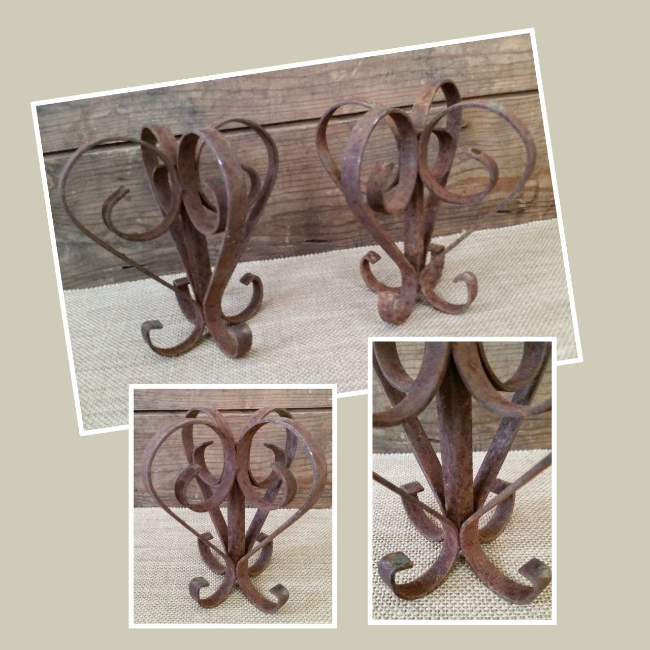 Two Salvaged Rustic Decor Items. Upcycled, bookends, pot holders ...
