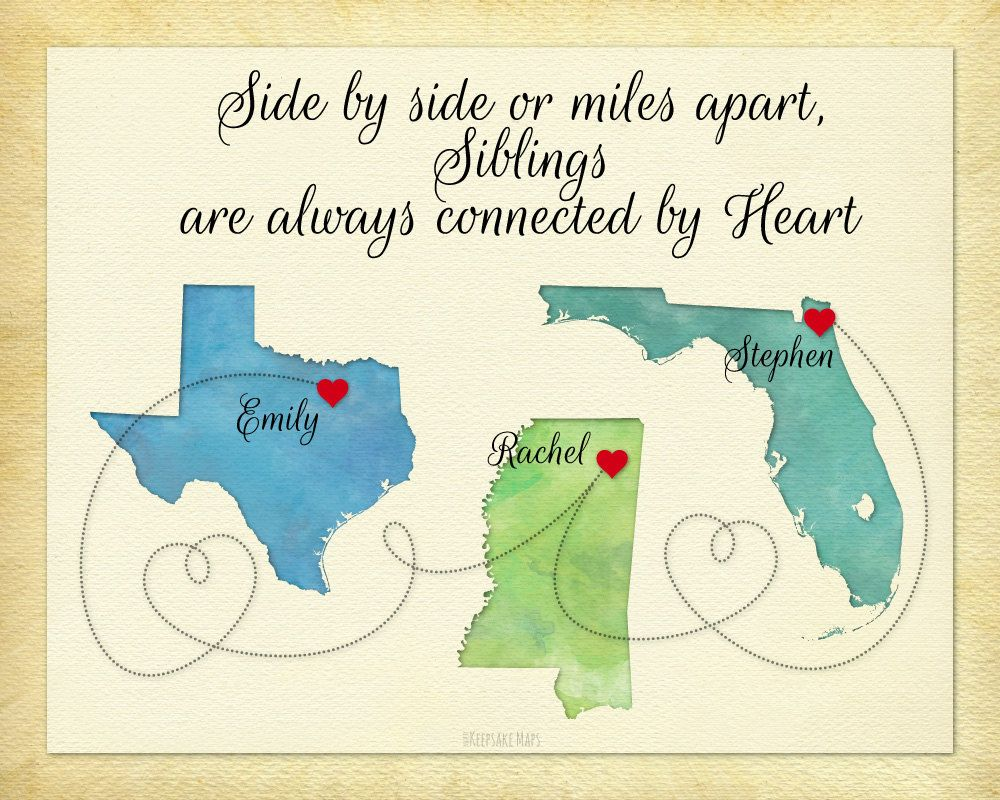 Personalized Gift For Sisters Gift For Brother Siblings Gift Moving Away Gift Side By Side Or Miles Apart Gift For Siblings Map Art Personalised Gifts For Sister Moving Away Gifts Sibling