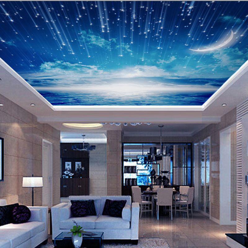 Cheap Venta Al Por Mayor Cielo Azul 3d De Pared Y Techo Murales Vinilo  Wallpaper Sala Awesome Ideas