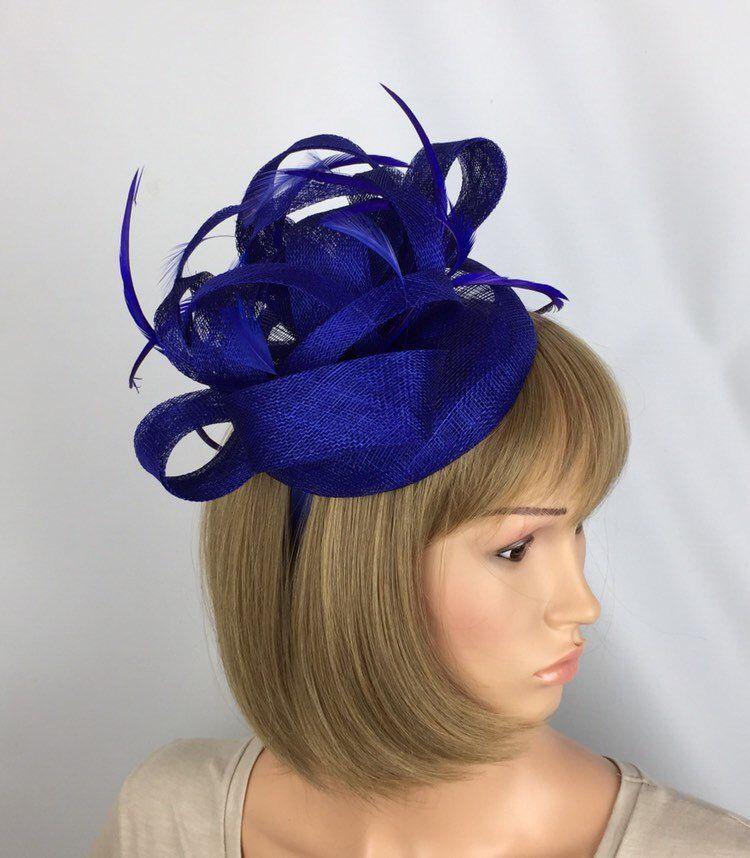 Royal Blue Fascinator Hat for weddings//ascot//proms P2