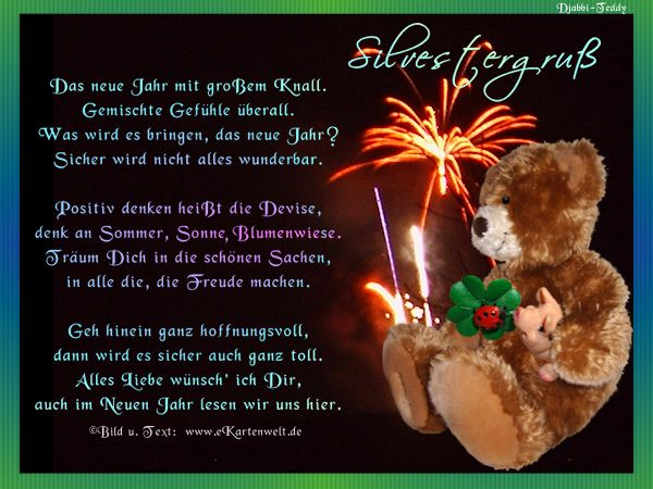 Silvestergru silvestergedichte mit djabbi teddy for Zitate weihnachten jahreswechsel