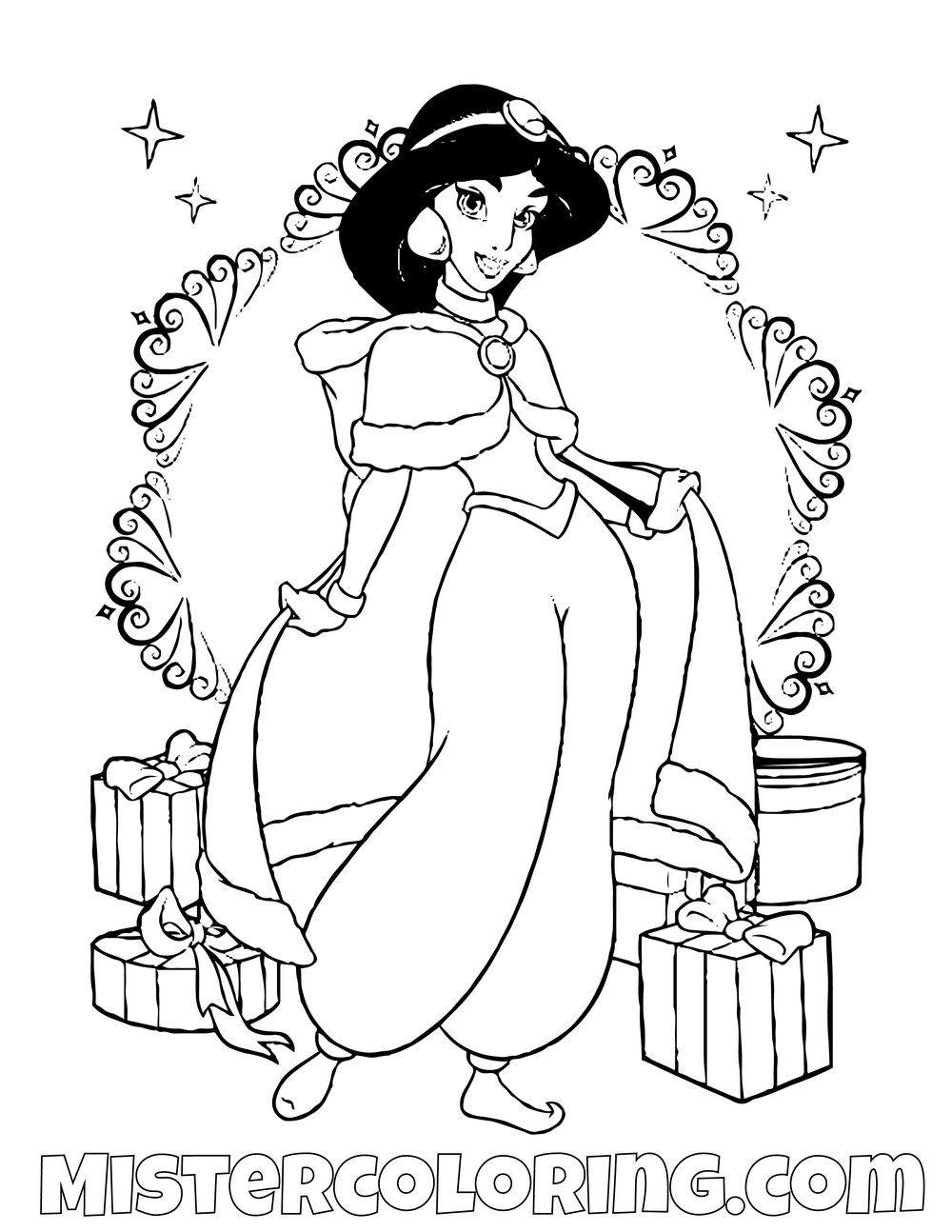 Jasmine On Christmas Aladdin Coloring Page Disney Princess Coloring Pages Princess Coloring Pages Disney Coloring Pages