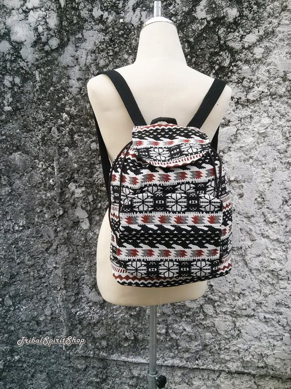 Boho Backpack Ethnic Aztec Print Tribal Hippies Woven Fabric Hobo Rucksack  Hipster Gypsy Nepali Patterns Bags Purse Native snow size Small c4c65effa7