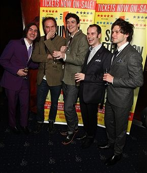 George Maguire, Ray Davies, John Dagleish, Adam Sopp and Ned Derrington attend the after party following the press night performance of 'Sunny Afternoon' at Cafe De Paris on October 28, 2014 in London, England.