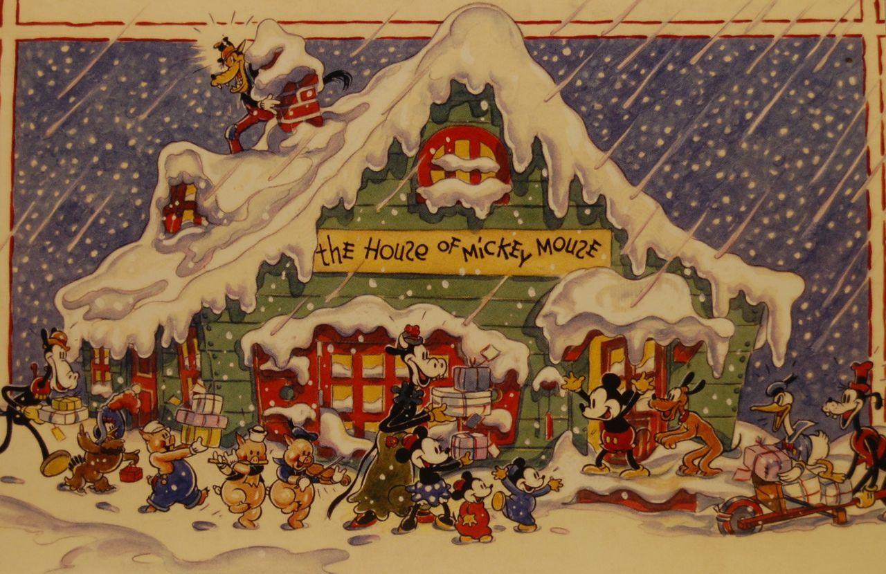 The 1935 Walt Disney Company Christmas Card Photo By Chris Barry Disney Christmas Cards Company Christmas Cards Disney Characters Christmas