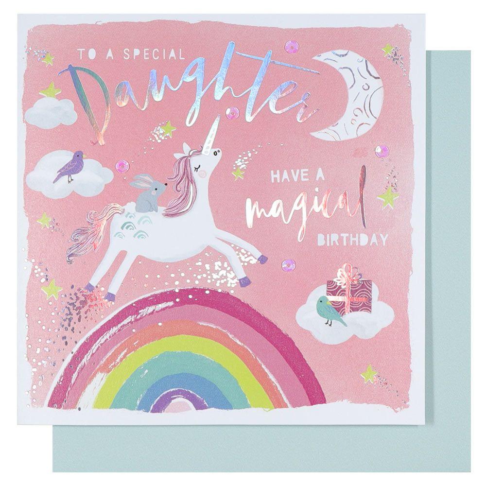 Unicorns and rainbows daughter birthday card in 2020