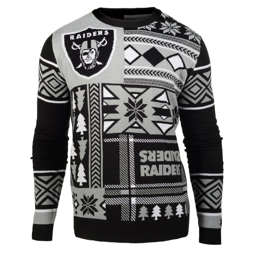 Oakland Raiders Officially Licensed NFL Patches Ugly Sweater By Klew ...
