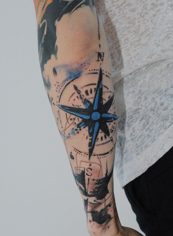 100 Awesome Compass Tattoo Designs Sleeve Tattoos Tattoos Trash