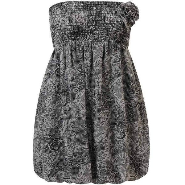 1d12f8a53b2f Breezy Lace Print Dress ($30) ❤ liked on Polyvore featuring dresses, women,  pattern dress, strapless lace dress, smock dress, smocked strapless dress  and ...