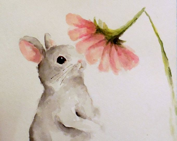 Bunny Rabbit Painting Original Watercolor Nursery Spring Easter