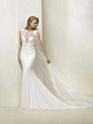 drail: vestido de novia elegante de motivos florales - pronovias