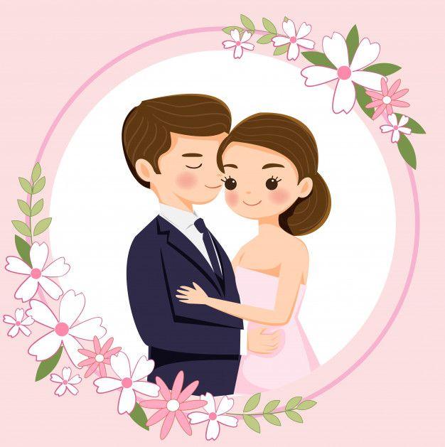 Casal Bonito Dos Desenhos Animados Para Cartao De Convites De Casamento Wedding Couple Cartoon Couple Cartoon Cartoon Wedding Invitations