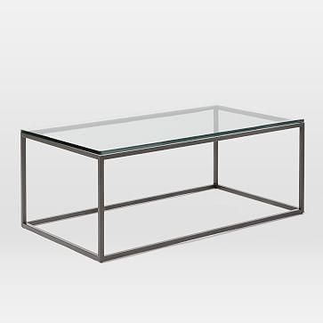 Box Frame Coffee Table Glass Antique Bronze Coffee Table