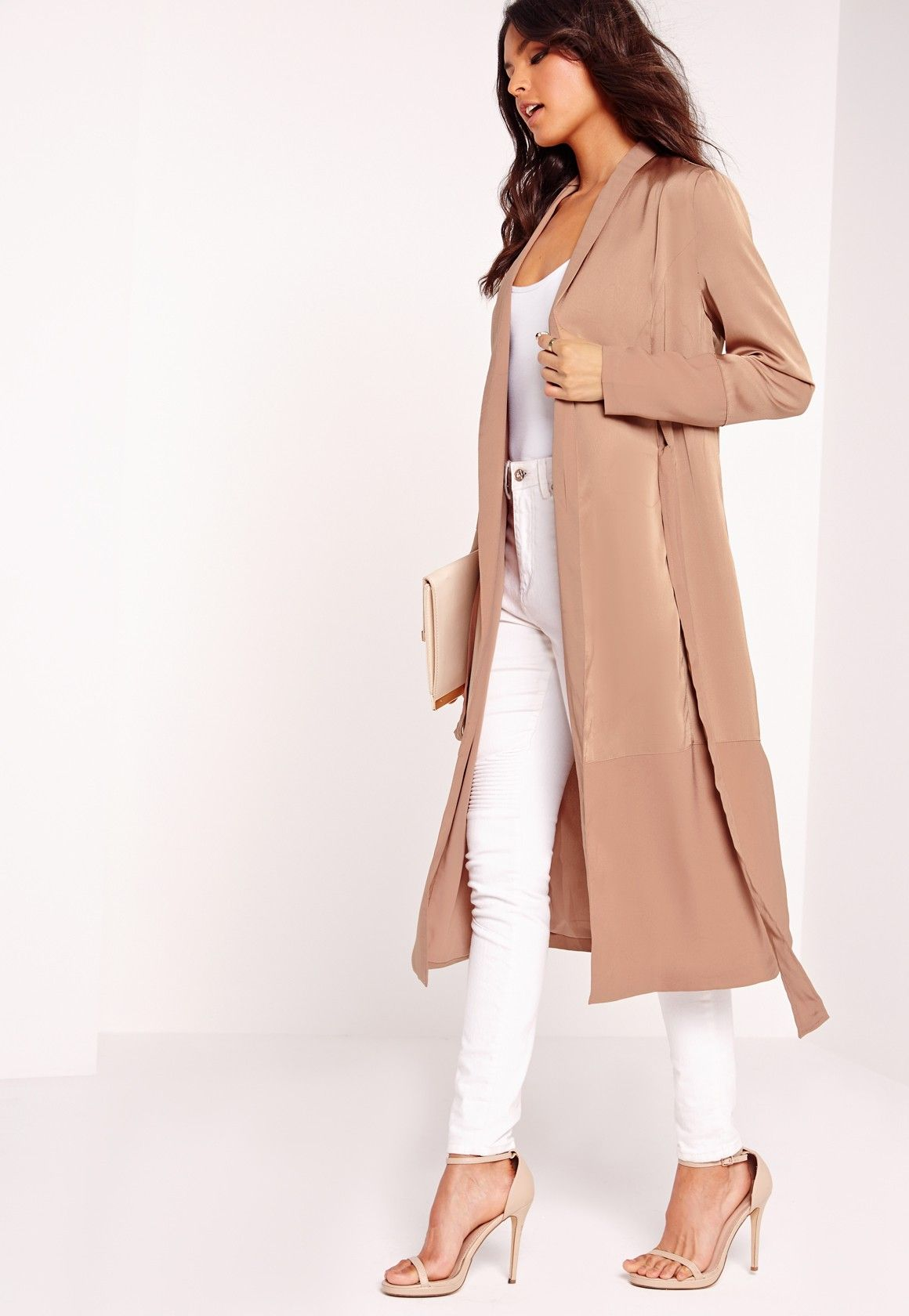 Missguided - Petite Two Tone Satin Duster Jacket Camel | Style ...