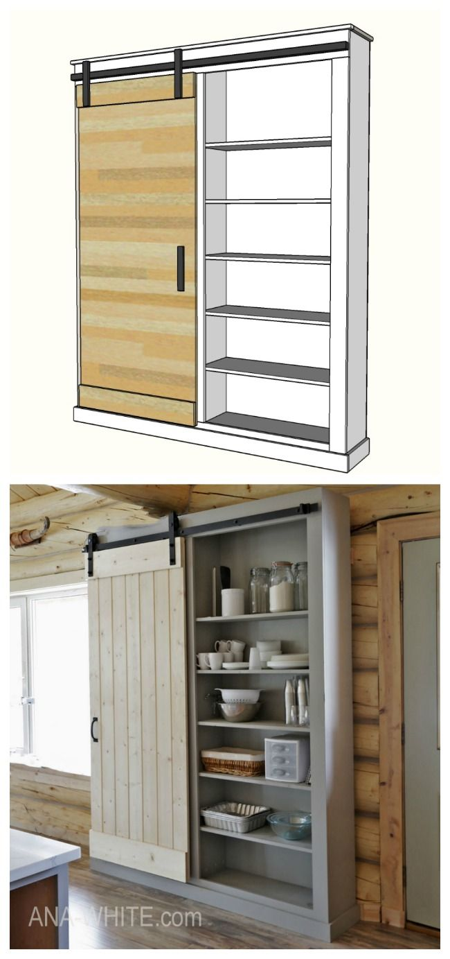 Ana White Barn Door Cabinet Or Pantry Diy Projects