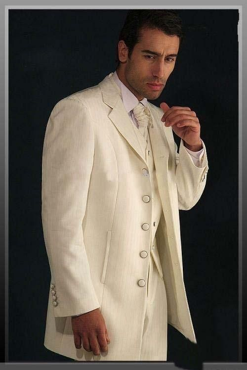 Fashion Style Five Buttons Ivory Groom Tuxedos Groomsmen Mens ...