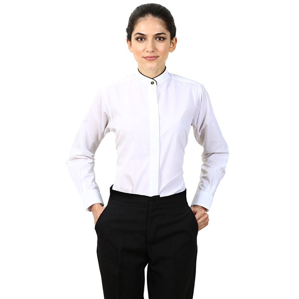 Women 39 s white banded collar shirt tuxedo shirts for for Tuxedo shirt covered placket