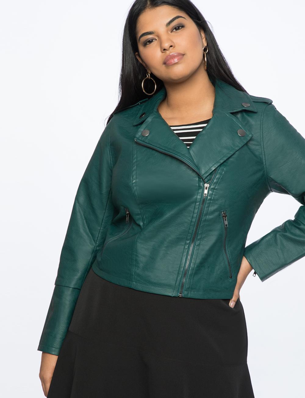Faux Leather Moto Jacket Women S Plus Size Coats Jackets Eloquii Womens Moto Jacket Plus Size Spring Dresses Leather Moto Jacket Womens [ 1304 x 1000 Pixel ]