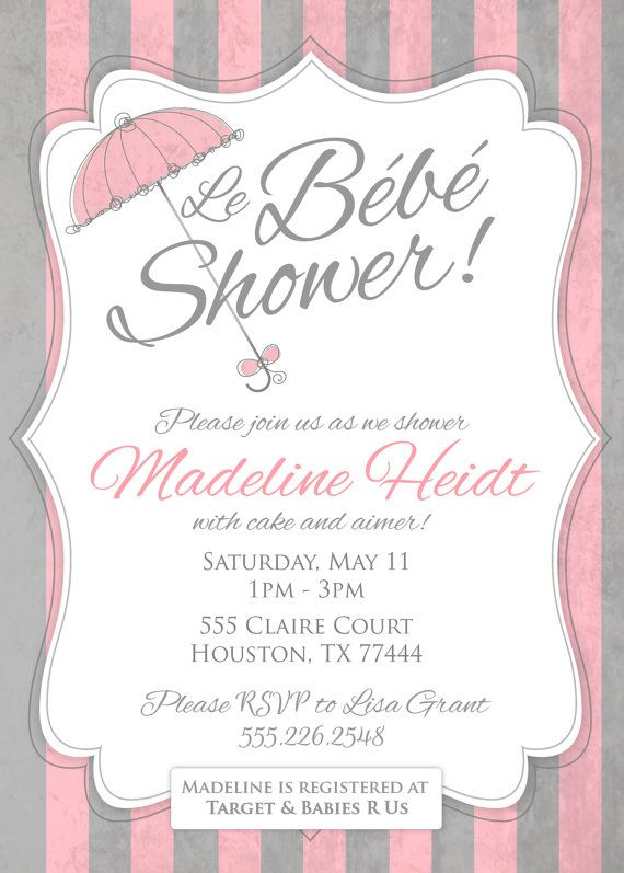 5x7 French Baby Shower Invitation Printable Pdf 15 00 Via Etsy French Baby Shower Paris Baby Shower Baby Shower Invitations