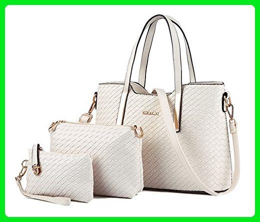 Tibes Fashion Pu Leather Handbag+Shoulder Bag+Purse 3pcs Bag Tote Beige -  Totes ( Amazon Partner-Link) 5e378c1967255