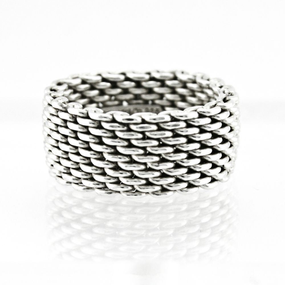 c4b190a8f1b7b Tiffany & Co. Somerset Mesh Band 925 Sterling Silver Ring Size 8 ...