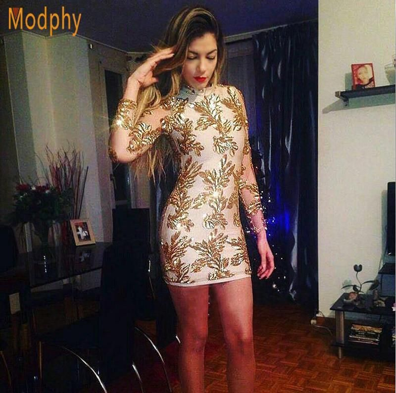 6047e985dd5c 2018 new women long sleeve mesh see through sequined sexy prom club mini  celebrity party bandage dress drop ship HL731