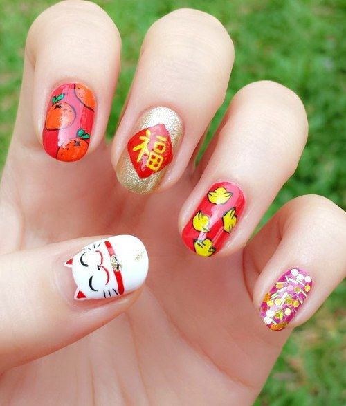 Chinese New Year Fortune Cat Nails Nails Pinterest Nails Nail