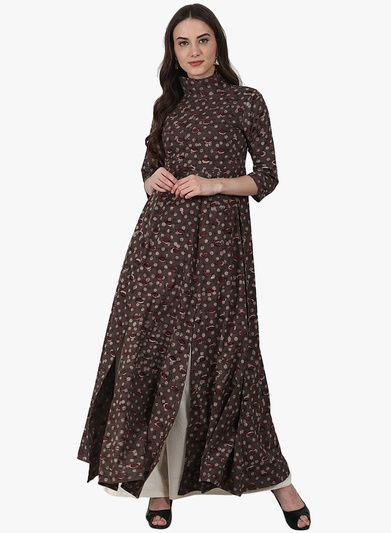 7efd6dfee7 Brown Printed Palazzo Kurta Set | achala - sets | Salwar suits ...