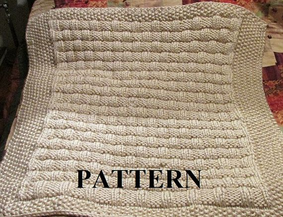 Knitting Pattern Blanket Knitting Pattern Basket Weave Chunky