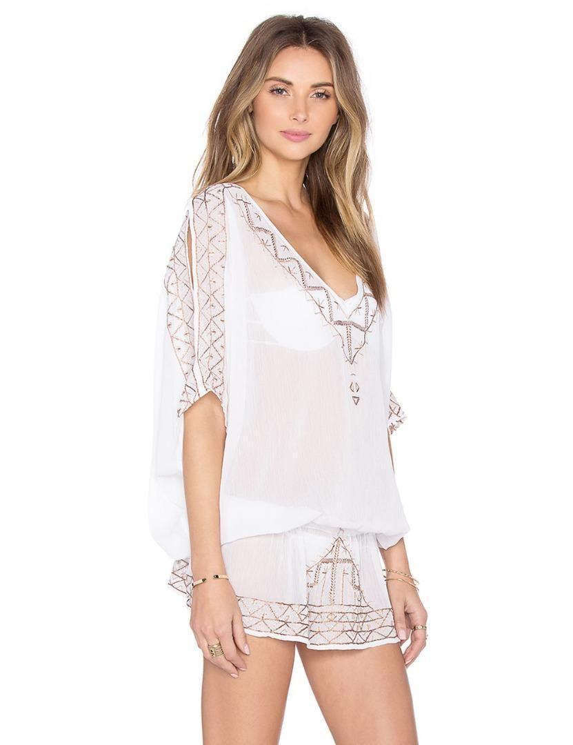 Womens summer beach white chiffonlace swimwear short maxi dress