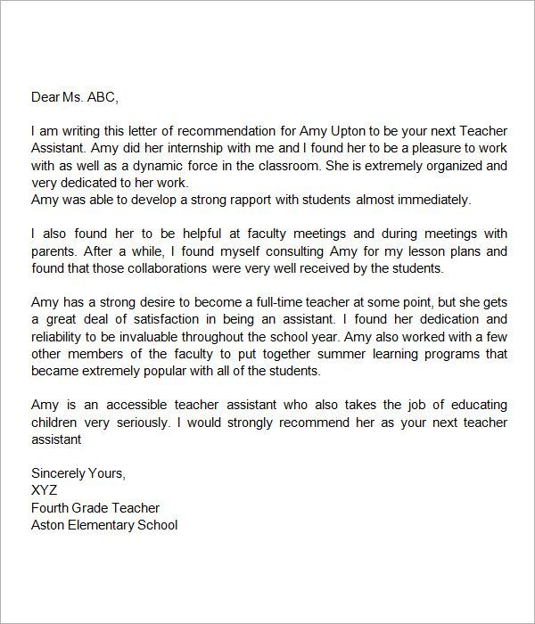 Recommendation Letter For Teacher Assistant
